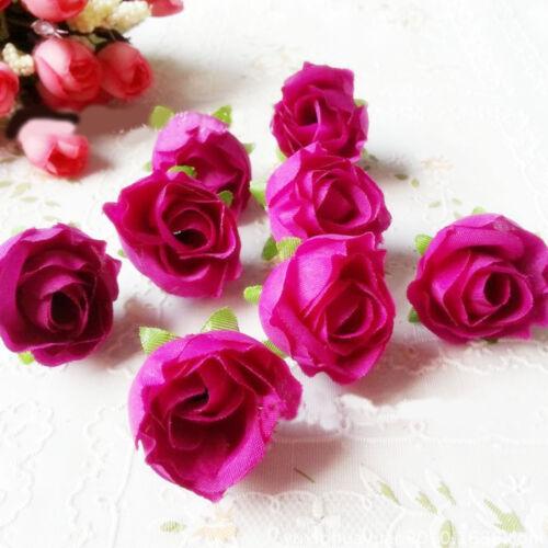 10X Flor Rosa Cabezas De Seda Artificial Falsas cogollos Ramo Decoración de Hogar Boda Craft