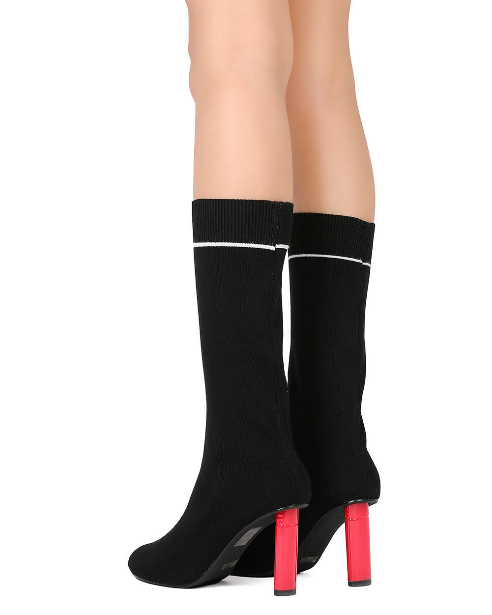 NEU Womem Cape Robbin Dneuce-1 Sweater Mid-Calf Pointy Toe Oval Heel Sock Boot