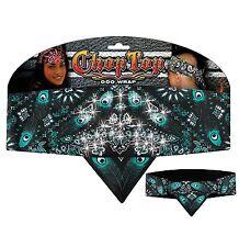Chop Top: Peacock Paisley Mint pattern w/Rhinestones Doo Rag Bandana Head Wrap