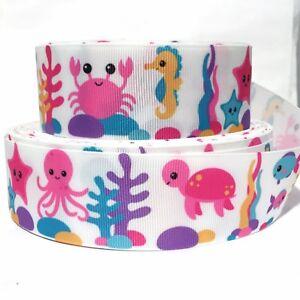 "GROSGRAIN RIBBON 7//8/"" Ocean Animals Octopus Fish Star Printed FREE SHIPPING"
