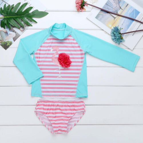 Infant Baby Girls Long Sleeves Floral Rash Guard Swimsuit Swimwear Bathing Suit