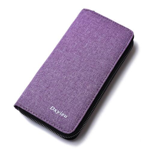 2018 Men Long Design Canvas Wallet Card Zipper Clutch Purse Large Clutch Wallets
