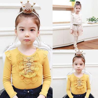 Kids Baby Long Sleeve Princess Shirt Girls Lace Bowknot Ruffle Blouse Tops 1-4T