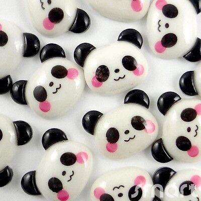 20pcs Black White Panda Cabochon Flatback Horse Hair Bow Center Craft Embellish