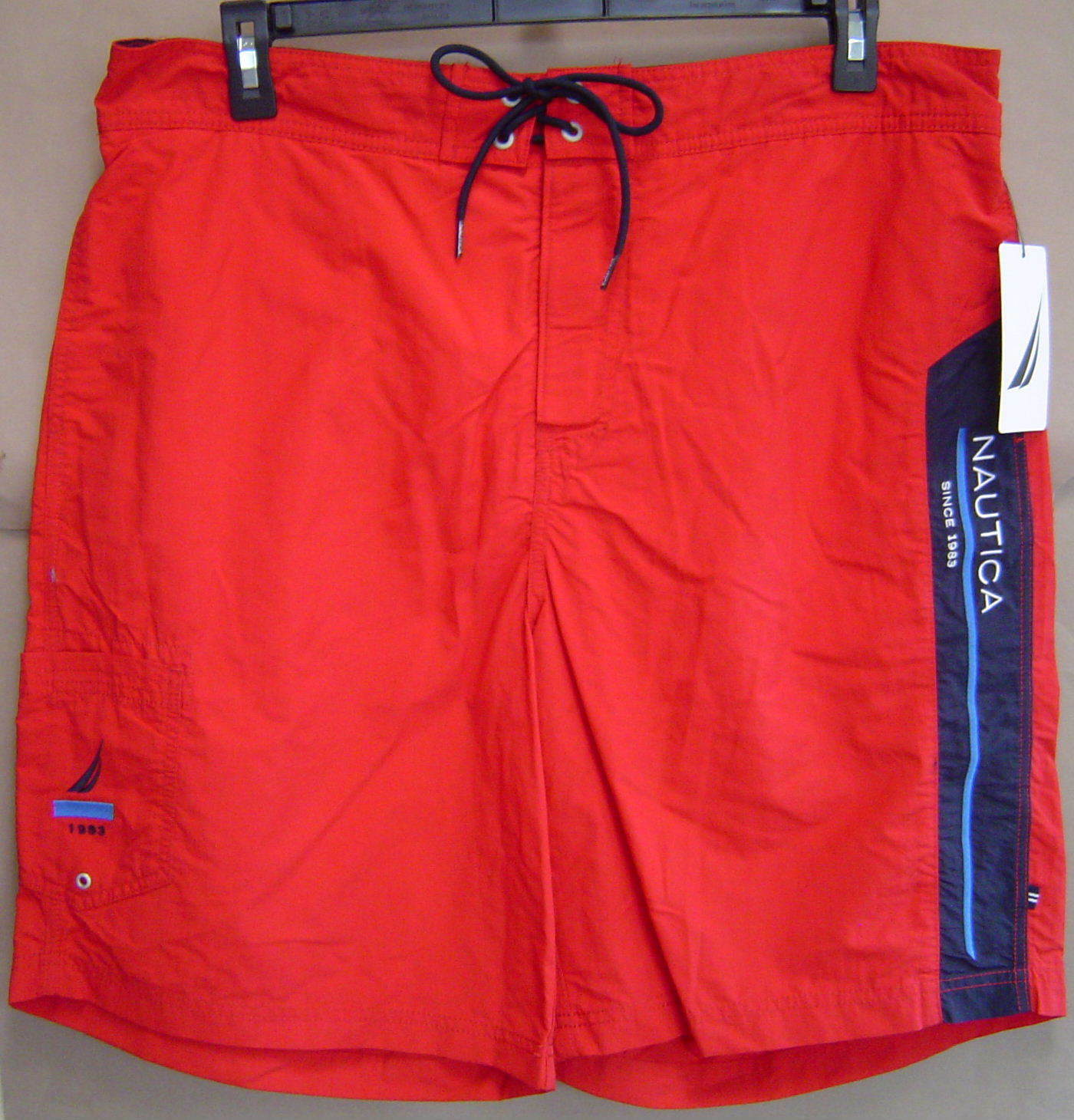 NWT  NAUTICA Mens XL RACER RED Swim Board Shorts Cargo Trunks T34003