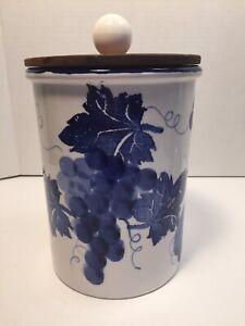 Ceramiche-Alfa-Blue-White-Grape-Leaf-Covered-Storage-Jar-Or-Utensil-Holder-Italy