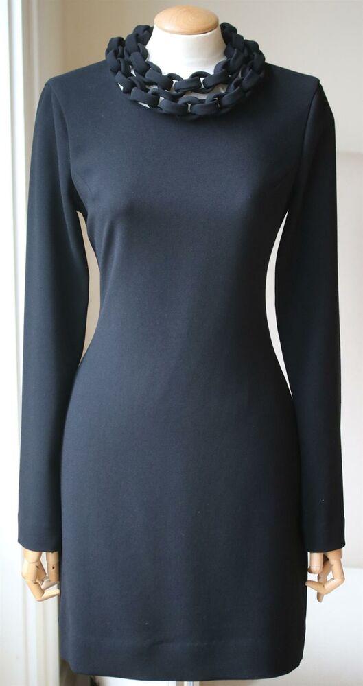 Adroit Diane Von Furstenberg Giada Chaîne Col Crêpe Mini Robe Us 4 Uk 8 Par Processus Scientifique