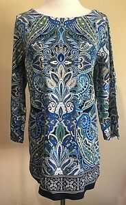 NWT-Women-039-s-Navy-Blue-Paisley-Print-Rafaella-3-4-Sleeve-Knit-Tunic-Small