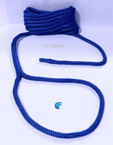 """1 Blue Double Braided 3//8/"""" x 20/' ft HQ Boat Marine DOCK LINE Mooring Rope Cord"""