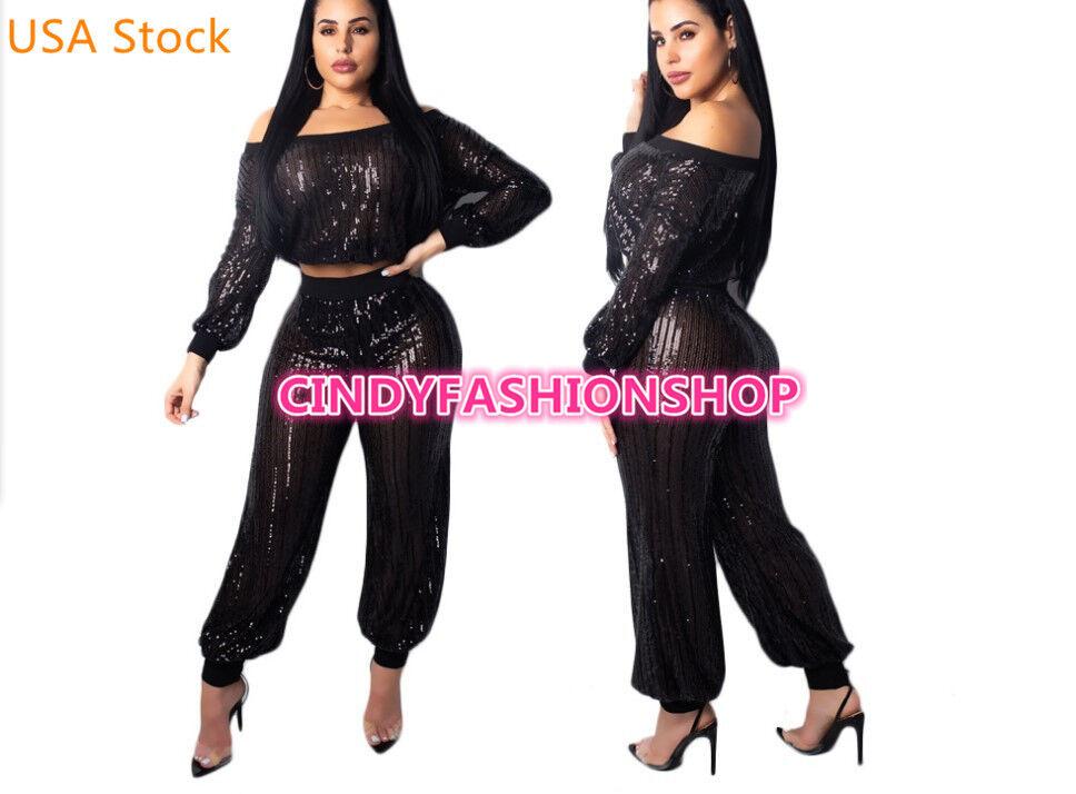 USA Women Sequin Sheer Two Piece Sexy Off Shoulder Crop Top+Bloomers Pants JK2