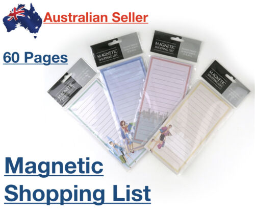 Magnetic Shopping List 60 pages Fridge Grocery Notepad Note Pads Slim Line Pad