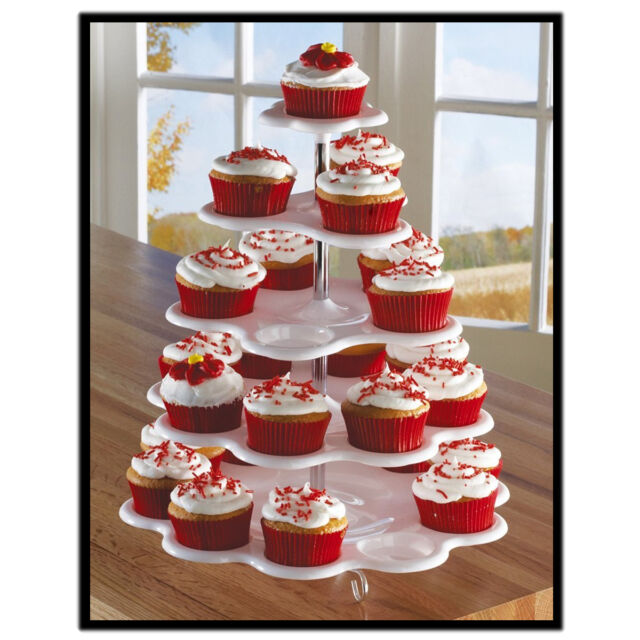 5-Tier White Plastic Cupcake Holder Display Stand Tower Wedding Birthday Party