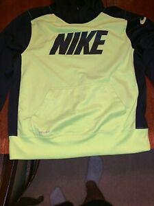 NIKE Black Pullover Hoodie Hooded Sweatshirt Neon Youth Boys Large Dri Fit