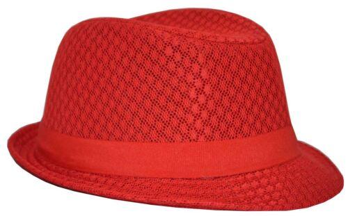 MLN Men/'s Mesh Fedora Red