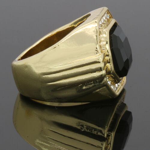 Men/'s 14K Gold Plated Hip Hop BK Ruby Face 1line CZ Ring Sizes 7 8 9 10 11 12