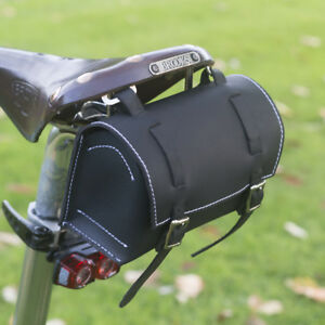 Leather Bag Bicycle Saddle Handlebar Frame Vintage Craft BLACK White