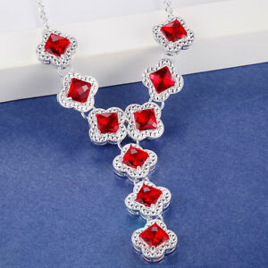 Gorgeous-Shiny-Jewelry-Fire-Red-Garnet-Gemstone-Silver-Chaming-Necklace-19-Inch