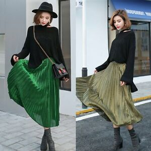 Stretch-High-Waist-Skater-Flared-Pleated-Dress-Womens-Silk-Swing-Long-Skirt-Q92