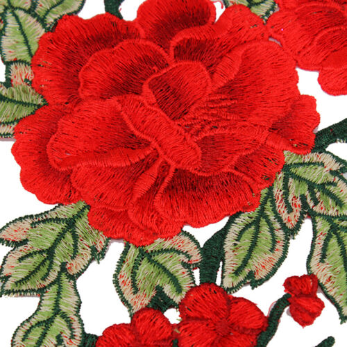 1SET Embroidered Floral Fabric Appliques Trim Dress Sticker Sew On Patch WT76