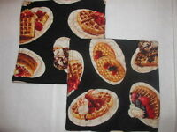 Set 2 Handmade Quilted Pot Holders Breakfast Waffles Theme Food Fruit Country