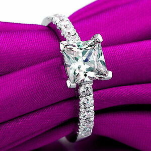 1.30 Ct Princess Moissanite Anniversary Ring 18K Solid White Gold ring Size 5 6