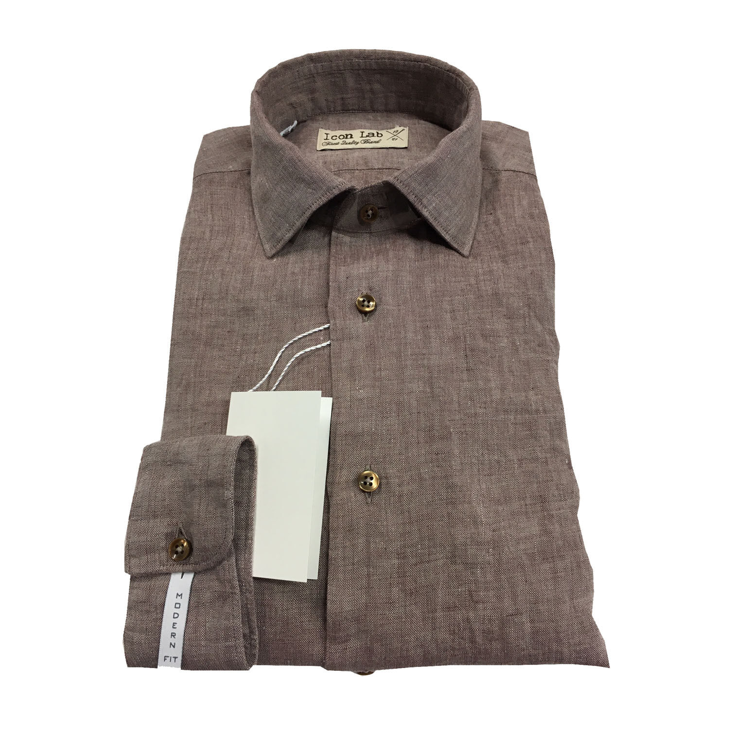 ICON LAB 1961 men's shirts dark brown washed long sleeve 100% linen fit slim