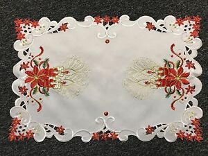 Christmas-Holiday-Red-Poinsettia-Embroidery-Cutwork-Table-Placemat-Runner-White