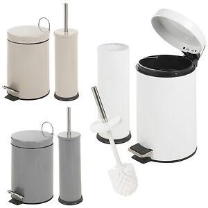Matching 3l toilet bin brush holder set bathroom pedal for Bathroom bin and brush set
