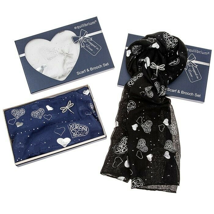 Ladies Equilibrium Hearts Scarf & Dragonfly Brooch Gift Set - Various Colours