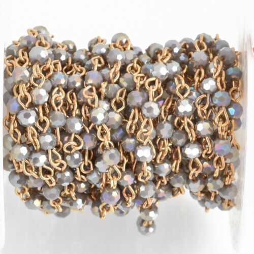1 yard GRAY AB Crystal Rosary Bead Chain, gold, 4mm round fch0885a