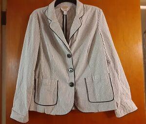 Talbots-Women-s-Striped-Blazer-Jacket-Career-Work-Black-White-Size-12