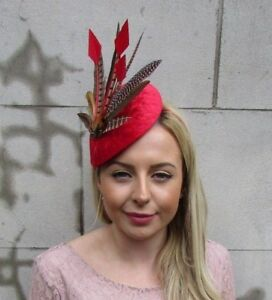 Image is loading Large-Red-Brown-Velvet-Pheasant-Feather-Hat-Fascinator- 23d59fbb5f5