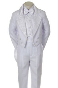 eb3681a8ac06 Baby BOY Toddler Wedding Christening Satin Formal TUXEDO Suit White ...