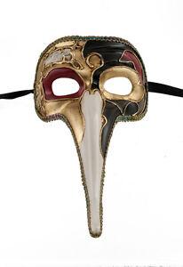 Maschera Di Venezia Zanni-Maschera Lunghi Naso Musica Nero Dorata 1497 VG17