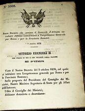 Regio decreto nomina Generale d'armata A La Marmora a luogotente per Roma 1870