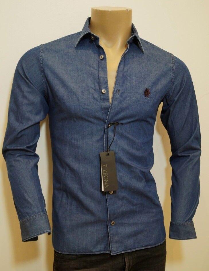 new product 6825e d3431 Ermenegildo Zegna Z Denim Blu Slim Aderente Camicia in cotone S prezzo  consigliato .00 Look npfwkx1493-Camicie casual e maglie. Fatface DA UOMO  GRIGIO ...