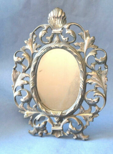 Decorative Wall Mirror in Gold White Repro Antique Baroque Art Nouveau Vintage 50x76