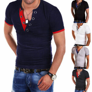 Men-039-s-T-Shirt-Short-Sleeve-Slim-Fit-Gym-Tops-V-Neck-Casual-Fitness-Summer-Blouse