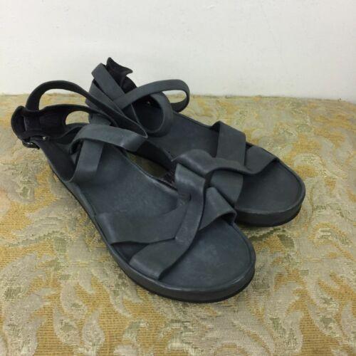 Eileen Fischer Blue Leather Ankle Sandals