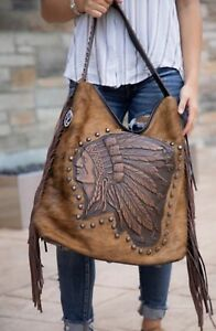 258b0dc40e57 Details about Raviani Western Tote W/ Native American Indian Chief Logo W/  Fringe CCW Holster