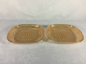 Two-Vintage-Hobnail-Square-Plates-Peach