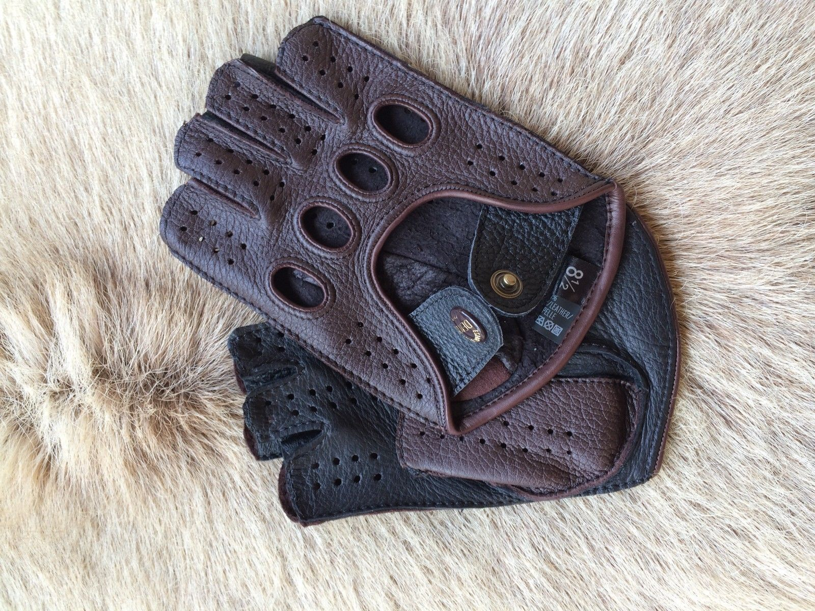 Driving Gloves Deerskin Fingerless Leather Brown Black Half finger Men's Gloves