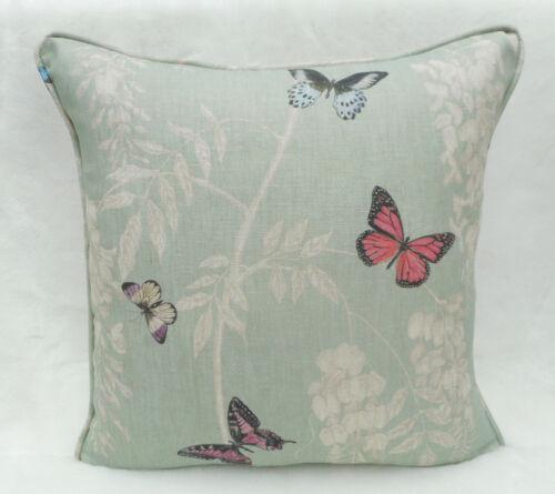 Sanderson Fabric Cushion Cover /'Wisteria /& Butterfly/' Seaspray//Multi 100/% Linen