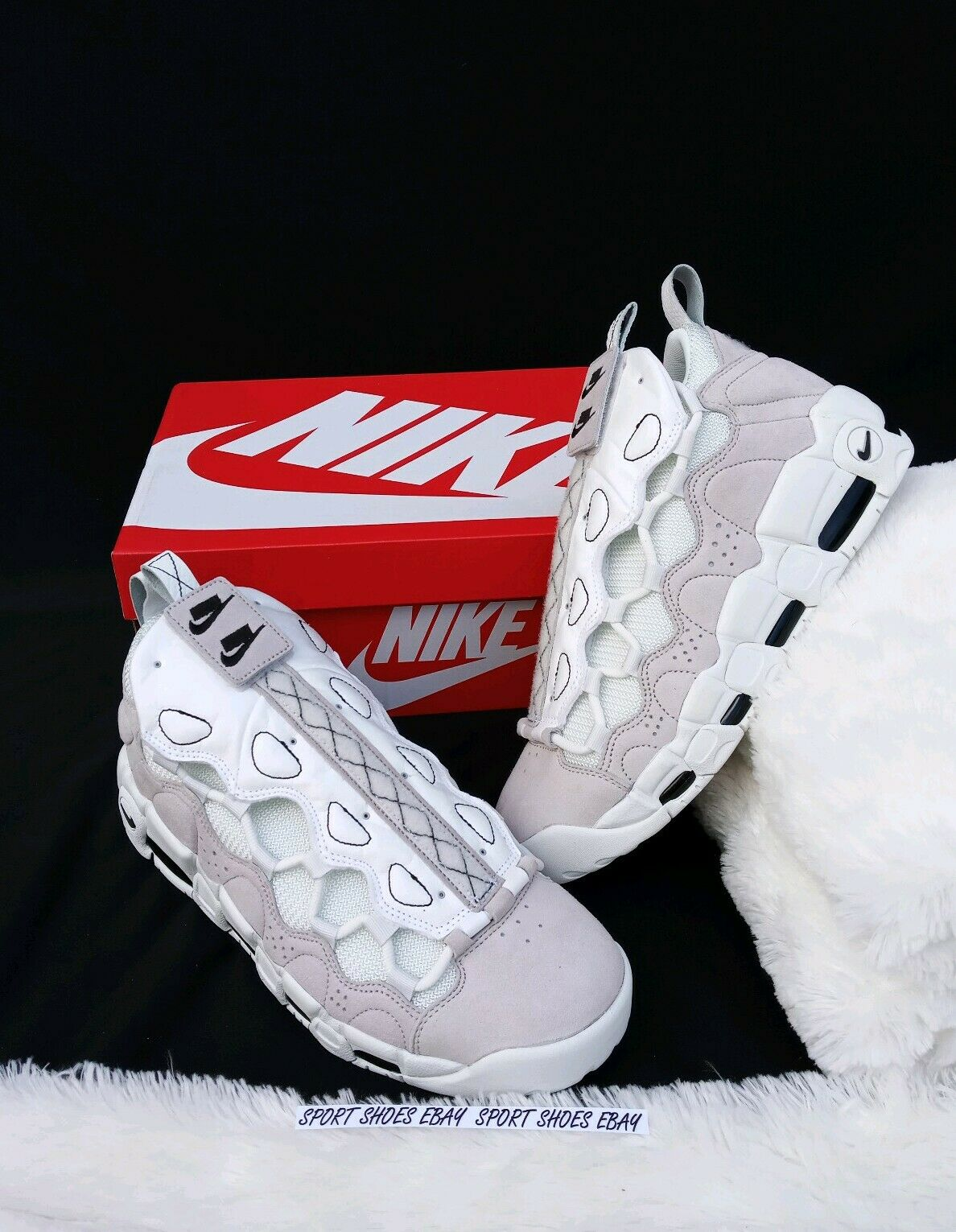 SIZE 10 MEN'S NIKE Air More Money AS QS All Star Vast Grey WhiteAQ0112 001