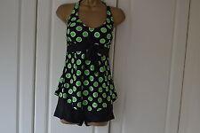 Women 2 Pcs Halter Green Spotty Tankini Swimsuit  Swimming costume (Size 14)