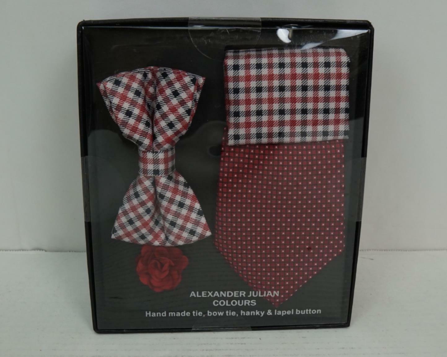 Alexander Julian Plaid Handmade Tie, Bow Tie, Hanky & Lappel Button Set Red