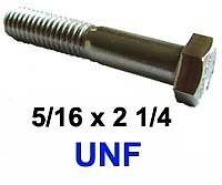 con gambo 5//16 X 2 1//4 UNF 24tpi in ACCIAIO INOX BULLONI 1//2 AF x4
