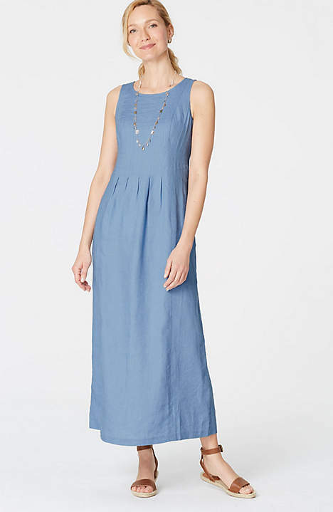 J. Jill - 2X(Plus) - Luxurious Porcelain bluee bluee bluee Linen Pleated Maxi Dress - NWT d57923