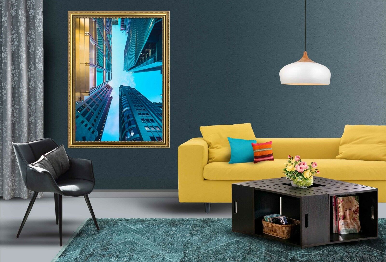 3D Buildings bleu Sky 2 Framed Poster Home Decor Print Painting Art AJ WALLPAPER