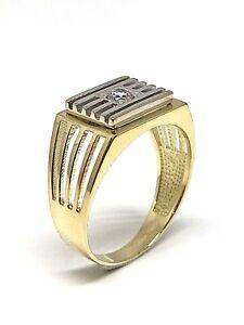 Chevaliere-pour-homme-en-or-18-carats-et-zirconium-5-04-grammes-taille-ajustable